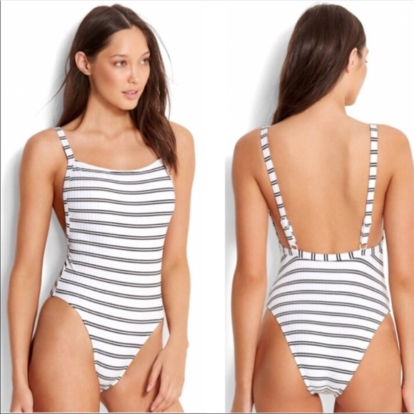 Seafolly Womens 80s High Cut Tank One Piece Swimsuit